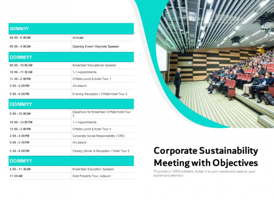 Corporate Sustainability Meeting With Objectives Ppt PowerPoint Presentation File Professional PDF