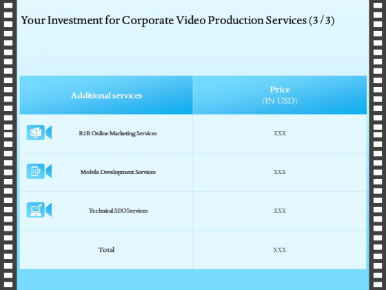 Corporate Video Your Investment For Corporate Video Production Services Price Ppt Outline Icon PDF