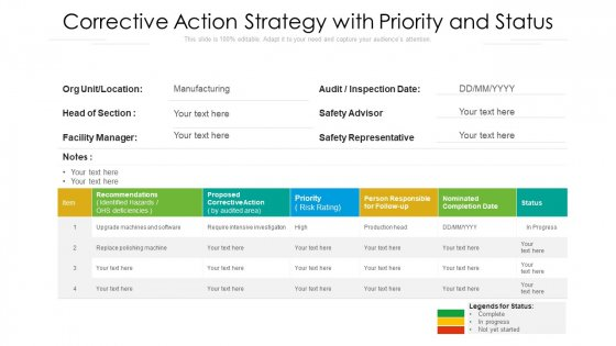 Corrective Action Strategy With Priority And Status Ppt Infographic Template Shapes PDF
