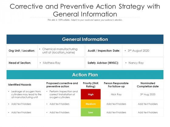 Corrective And Preventive Action Strategy With General Information Ppt PowerPoint Presentation Visual Aids Example File PDF