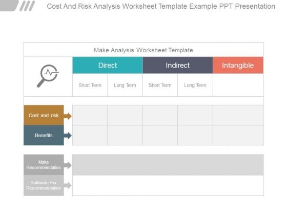 Cost And Risk Analysis Worksheet Template Example Ppt Presentation