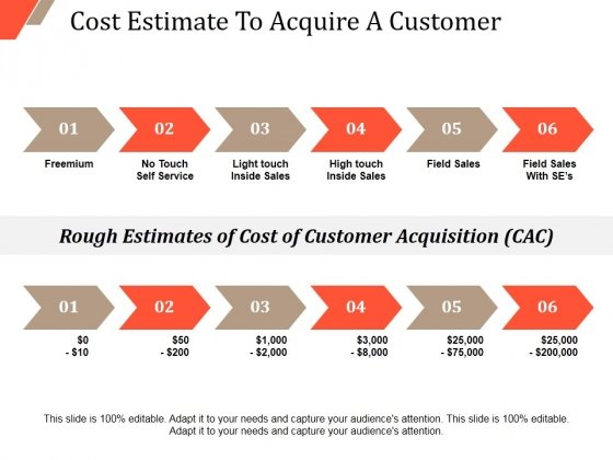 Cost Estimate To Acquire A Customer Ppt PowerPoint Presentation Slides Background Designs