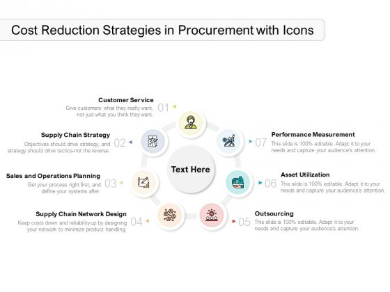Cost Reduction Strategies In Procurement With Icons Ppt PowerPoint Presentation Professional Template