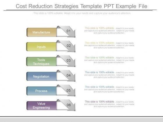 Cost Reduction Strategies Template Ppt Example File