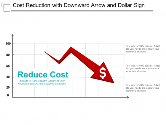 Cost Reduction With Downward Arrow And Dollar Sign Ppt Powerpoint Presentation Infographics Templates
