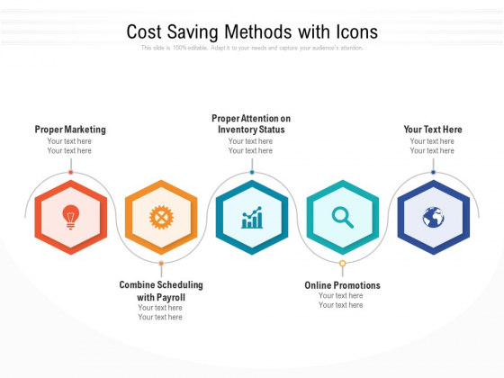 Cost Saving Methods With Icons Ppt PowerPoint Presentation File Aids PDF
