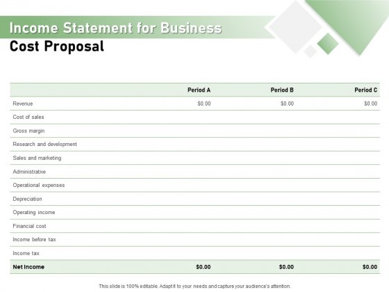 Cost Savings To A Company Income Statement For Business Cost Proposal Slides PDF