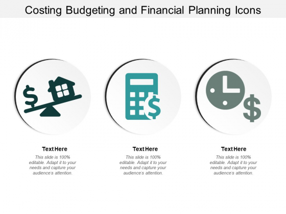 Costing Budgeting And Financial Planning Icons Ppt PowerPoint Presentation Inspiration Example Topics