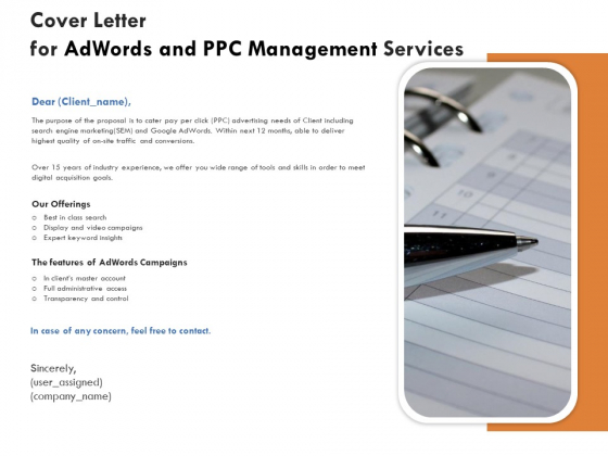 Cover Letter For Adwords And PPC Management Services Demonstration PDF