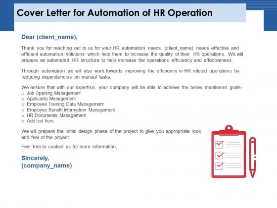 Cover Letter For Automation Of HR Operation Ppt PowerPoint Presentation Inspiration Sample PDF