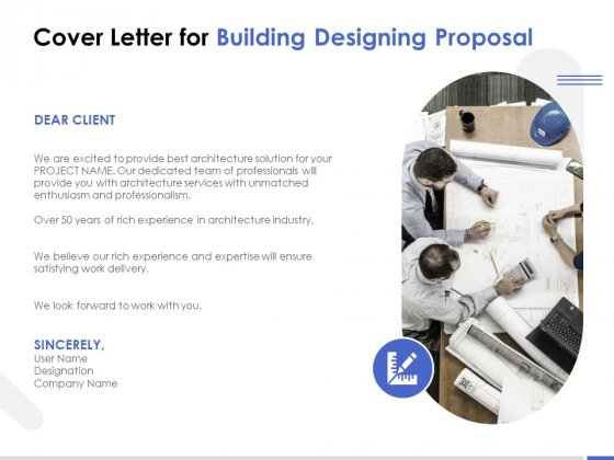Cover Letter For Building Designing Proposal Ppt PowerPoint Presentation Professional Design Templates