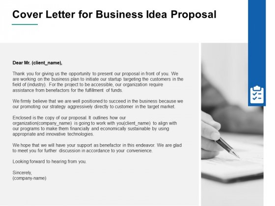 Cover Letter For Business Idea Proposal Ppt PowerPoint Presentation Infographic Template Layout Ideas
