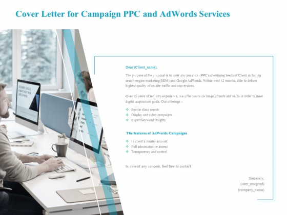 Cover Letter For Campaign PPC And Adwords Services Guidelines PDF