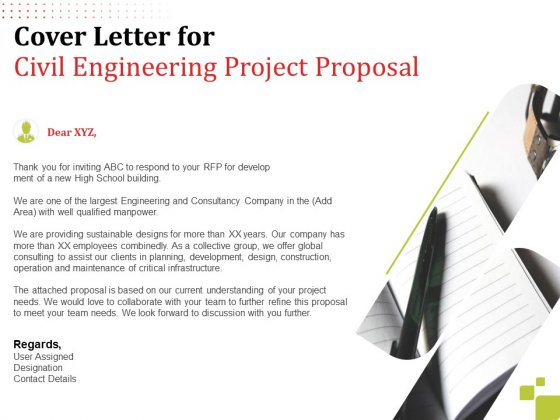 Cover Letter For Civil Engineering Project Proposal Ppt Inspiration Brochure PDF