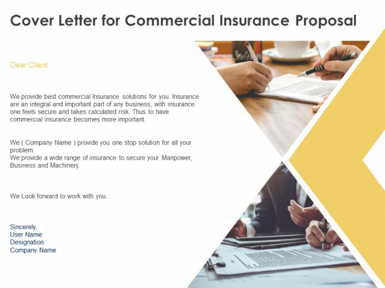 Cover Letter For Commercial Insurance Proposal Ppt Powerpoint Presentation Model