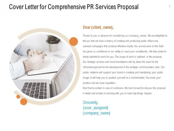 Cover Letter For Comprehensive PR Services Proposal Ppt PowerPoint Presentation Portfolio Inspiration