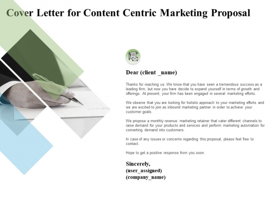 Cover Letter For Content Centric Marketing Proposal Ppt PowerPoint Presentation File Visual Aids