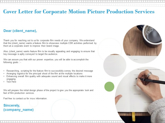 Cover Letter For Corporate Motion Picture Production Services Ppt PowerPoint Presentation Styles Pictures