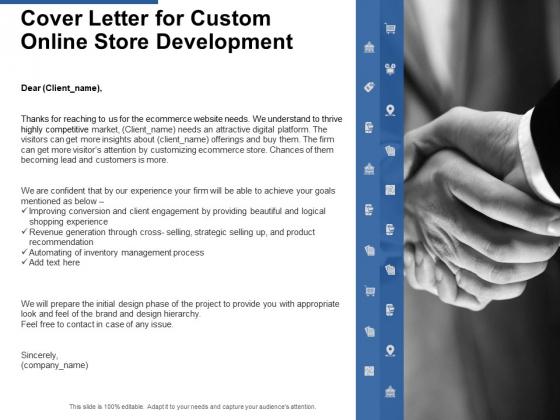 Cover Letter For Custom Online Store Development Ppt PowerPoint Presentation Designs Download