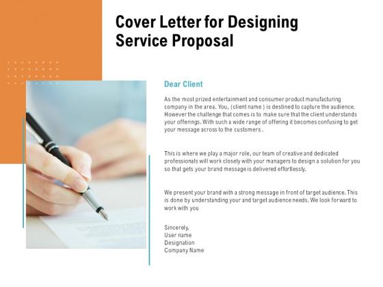 Cover Letter For Designing Service Proposal Ppt PowerPoint Presentation Slides Deck