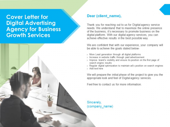 Cover Letter For Digital Advertising Agency For Business Growth Services Ppt PowerPoint Presentation Ideas Layout