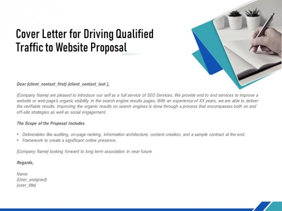Cover Letter For Driving Qualified Traffic To Website Proposal Ppt PowerPoint Presentation Summary Themes PDF