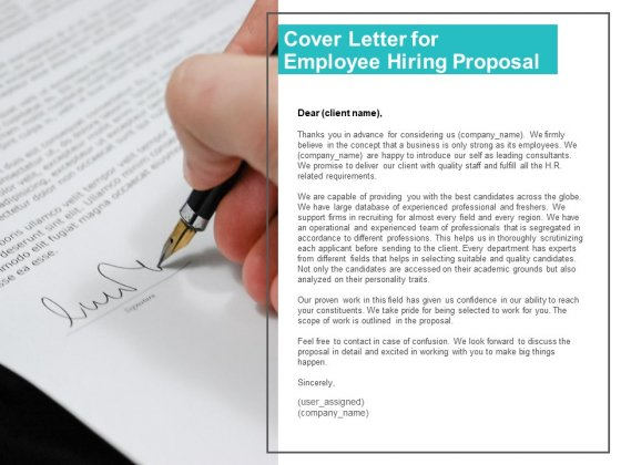 Cover Letter For Employee Hiring Proposal Ppt PowerPoint Presentation Professional Design Ideas