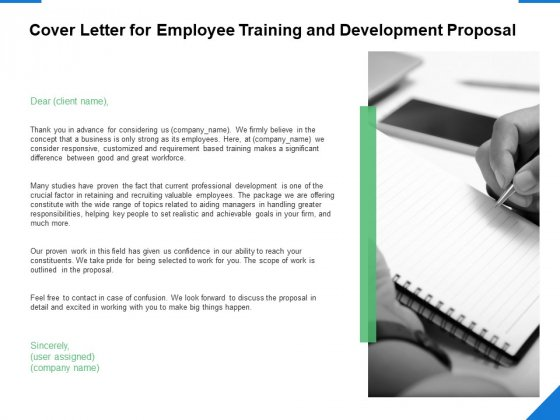 Cover Letter For Employee Training And Development Proposal Ppt PowerPoint Presentation Infographic Template Portrait