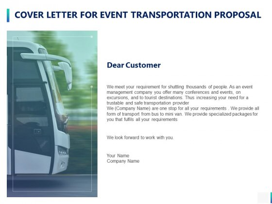 Cover Letter For Event Transportation Proposal Ppt PowerPoint Presentation Slides Example