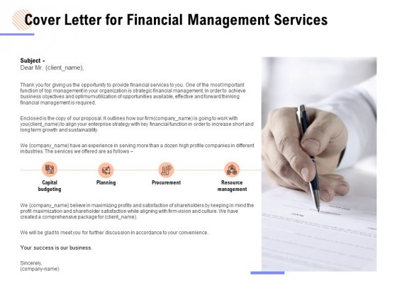 Cover Letter For Financial Management Services Ppt PowerPoint Presentation Gallery Summary