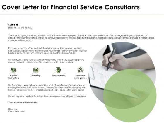 Cover Letter For Financial Service Consultants Ppt PowerPoint Presentation Layouts Samples