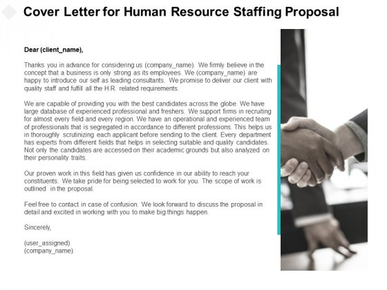 Cover Letter For Human Resource Staffing Proposal Ppt ...