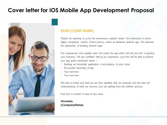 Cover Letter For IOS Mobile App Development Proposal Ppt PowerPoint Presentation Portfolio Template