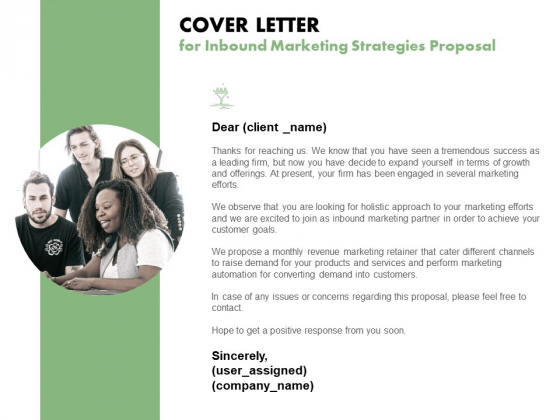 Cover Letter For Inbound Marketing Strategies Proposal Ppt PowerPoint Presentation Infographic Template Example File