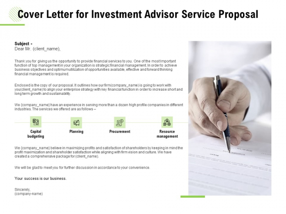 Cover Letter For Investment Advisor Service Proposal Ppt Infographics Background Image PDF