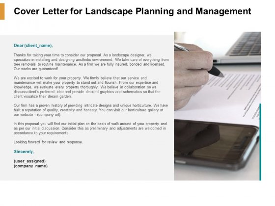 Cover Letter For Landscape Planning And Management Ppt Powerpoint Presentation Gallery Good Powerpoint Templates