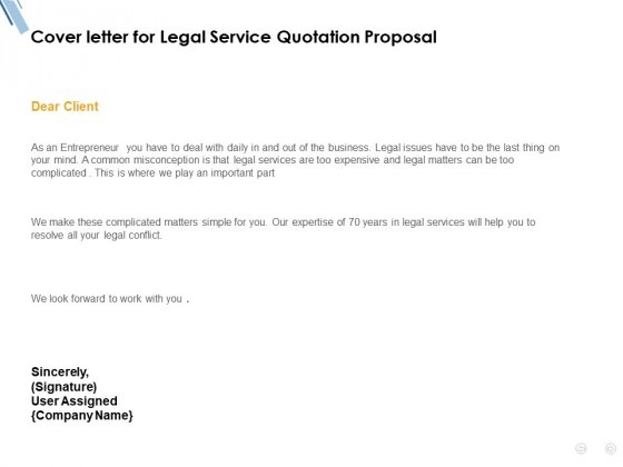 Cover Letter For Legal Service Quotation Proposal Ppt Powerpoint Presentation Portfolio Background Designs Powerpoint Templates