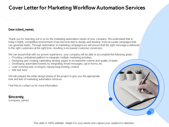 Cover Letter For Marketing Workflow Automation Services Ppt PowerPoint Presentation Styles Influencers PDF