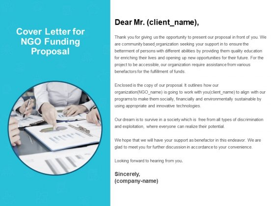 Cover Letter For NGO Funding Proposal Ppt PowerPoint Presentation Ideas Good
