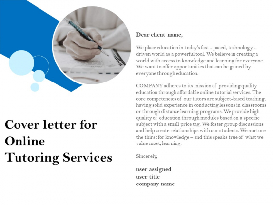 Cover Letter For Online Tutoring Services Ppt PowerPoint Presentation Show Graphics Pictures PDF