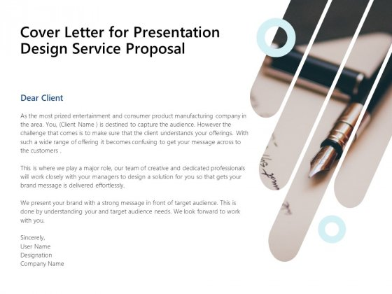 Cover Letter For Presentation Design Service Proposal Ppt PowerPoint Presentation Layouts Example