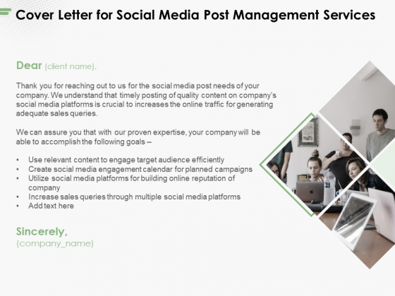 Cover Letter For Social Media Post Management Services Ppt PowerPoint Presentation Layouts Format Ideas PDF