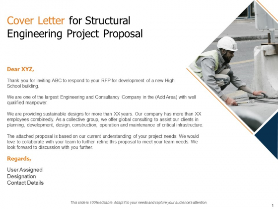 Cover Letter For Structural Engineering Project Proposal Ppt File Outline PDF