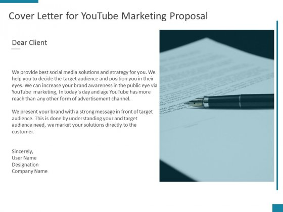Cover Letter For Youtube Marketing Proposal Ppt PowerPoint Presentation Icon Slides