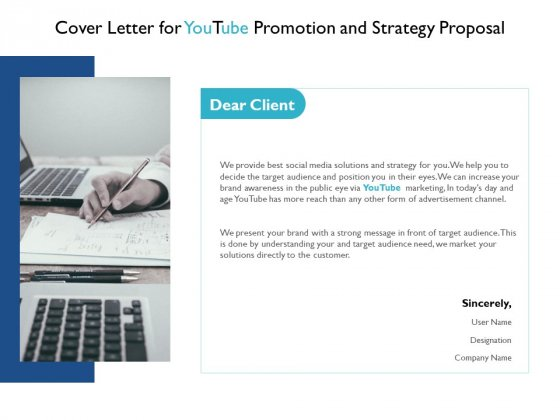 Cover Letter For Youtube Promotion And Strategy Proposal Agenda Ppt PowerPoint Presentation Infographic Template Influencers