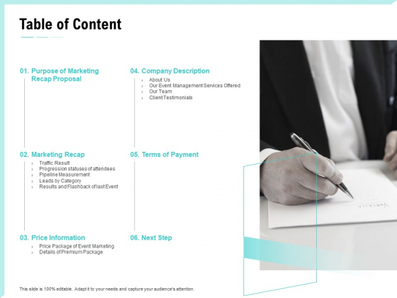 Craft_The_Perfect_Event_Proposal_Table_Of_Content_Demonstration_PDF_Slide_1