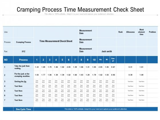 Cramping Process Time Measurement Check Sheet Ppt PowerPoint Presentation File Influencers PDF
