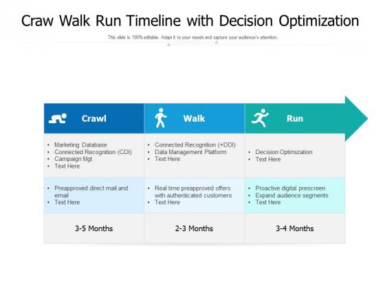 Craw Walk Run Timeline With Decision Optimization Ppt PowerPoint Presentation File Design Inspiration PDF