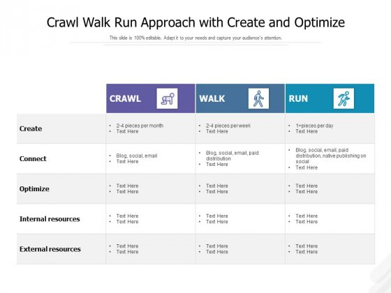 Crawl Walk Run Approach With Create And Optimize Ppt PowerPoint Presentation Gallery Model PDF