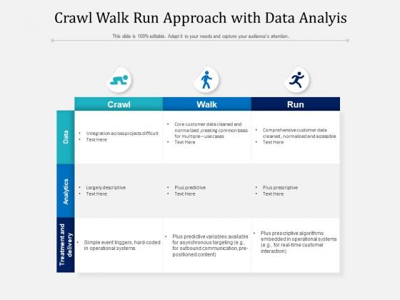 Crawl Walk Run Approach With Data Analyis Ppt PowerPoint Presentation Diagram Templates PDF